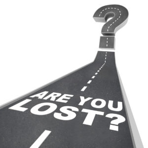 Are You Lost Words Question Mark on Road Pavement Confusion